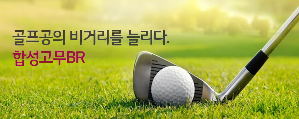 골프채 앞에 놓인 골프공 이미지(카피)골프공의 비거리를 늘리다– 합성고무 BR
