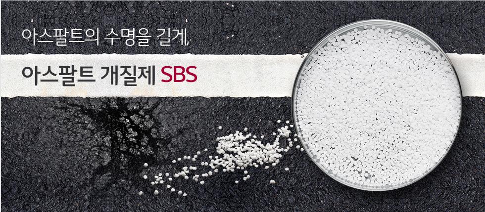 아스팔트에 균일이 나고 파손된 이미지 위에 고무특수 수지인 SBS가 우측에 놓여져 있는 모습
