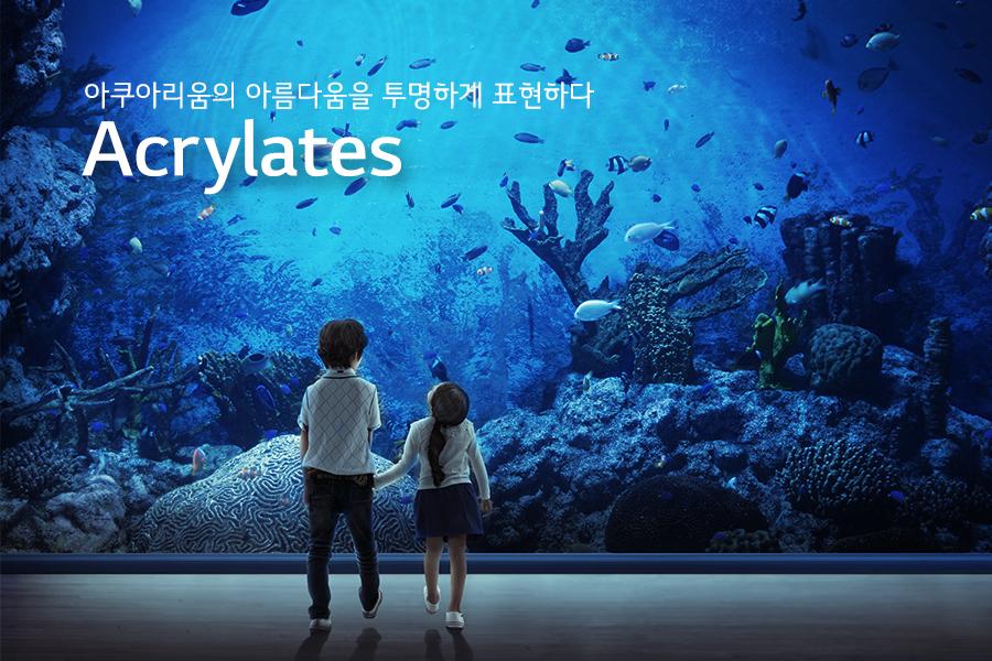 아쿠아리움 앞에서 아이들 둘이서 물 속을 바라보고 있는 모습(카피)아쿠아리움의 아름다움을 투명하게 표현하다 - Acrylates