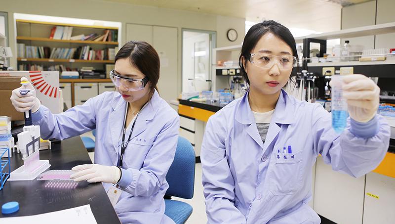 실험실에서 연구원이 실험을 진행하고 있는 모습